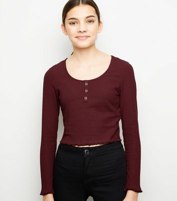 Girls Burgundy Ribbed Popper Front Long Sleeve Top