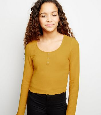 Girls Mustard Ribbed Popper Front Long Sleeve Top