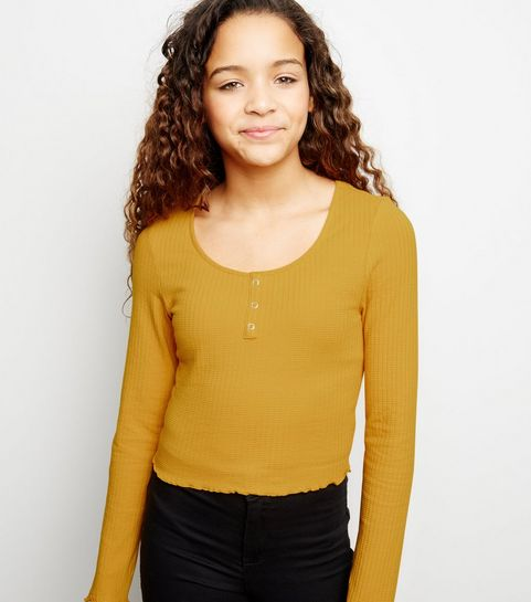 030fc1291542ea ... Girls Mustard Ribbed Popper Front Long Sleeve Top ...