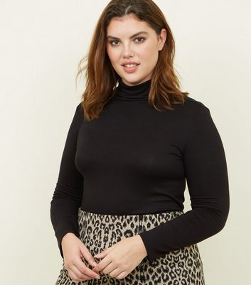Curves Black Long Sleeve Roll Neck Top