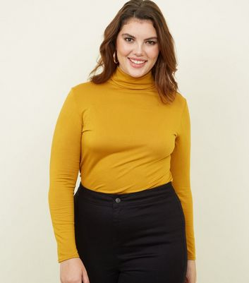 Curves Mustard Long Sleeve Roll Neck Top