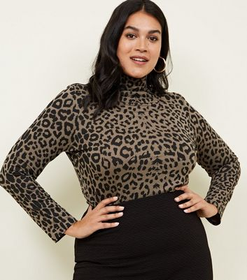 Curves Green Animal Print Roll Neck Top