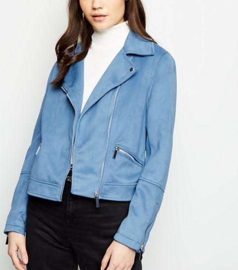 4a450f73ea0 ... Bright Blue Suedette Biker Jacket ...
