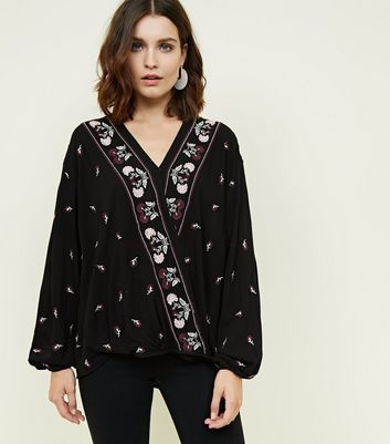 Apricot Black Floral Embroidered Wrap Top New Look