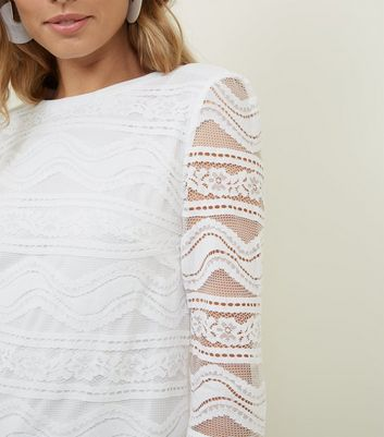 Apricot Cream Lace 3/4 Sleeve Top New Look