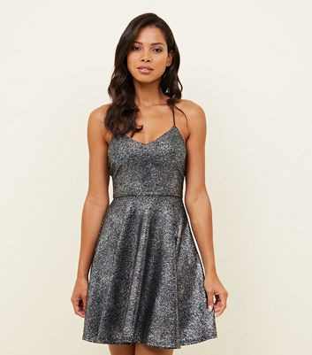 Multicoloured Glitter Strappy Skater Dress