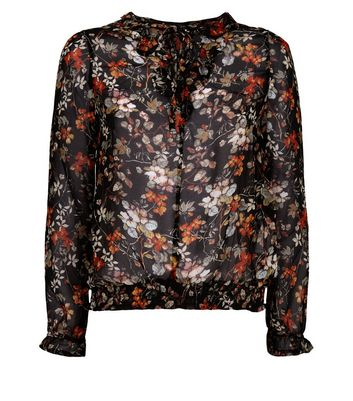 Apricot Black Floral Tie Front Blouse New Look