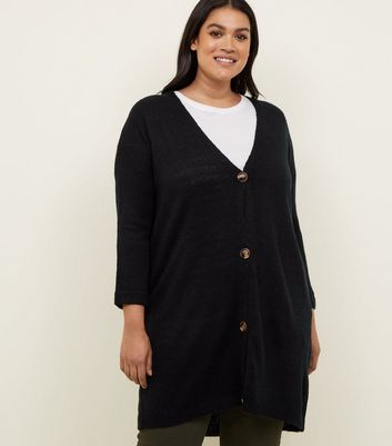Curves Black Knitted Longline Cardigan