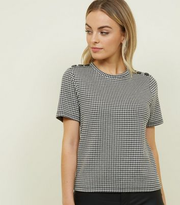Petite Black Houndstooth Button Shoulder T-Shirt