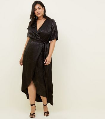 Curves Black Floral Satin Dip Hem Dress