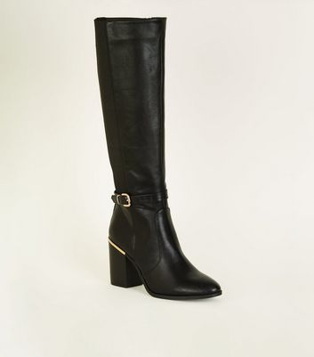 Black Buckle Side Block Heel Knee High Boots