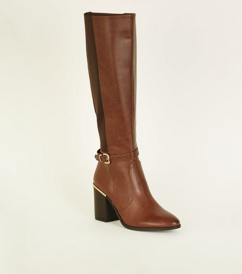 54c5cfeed650 ... Tan Buckle Side Block Heel Knee High Boots ...
