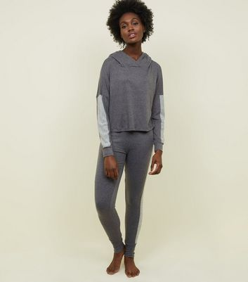 Dark Grey Ribbed Sleeve Panel Pyjama Hoodie
