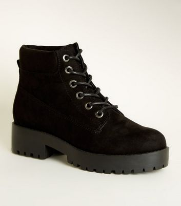 Black Suedette Chunky Lace Up Boots