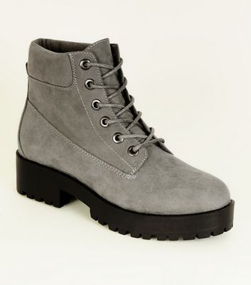 Grey Suedette Chunky Lace Up Boots
