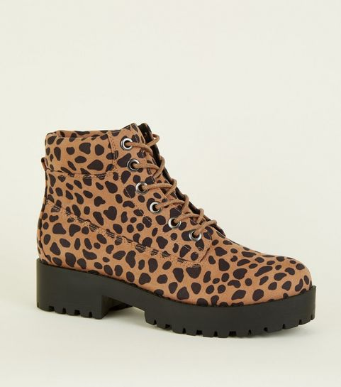 cd35cd744822 ... Brown Animal Print Chunky Lace Up Boots ...