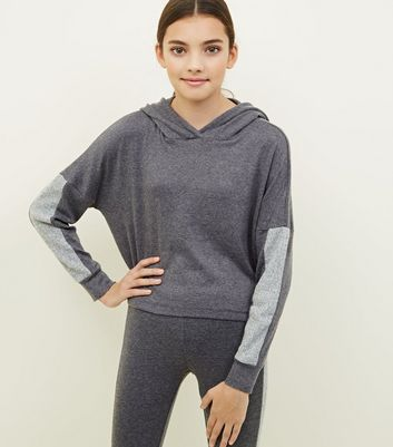 Girls Grey Colour Block Brushed Lounge Hoodie