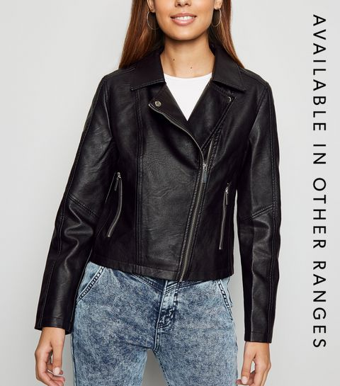 c88a91560e ... Black Leather-Look Biker Jacket ...