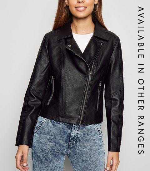 ... Black Leather-Look Biker Jacket ... 8afcee347c