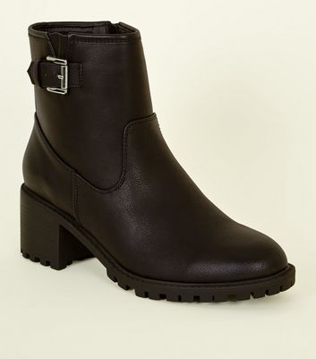 Black Buckle Chunky Sole Ankle Boots