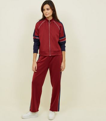Burgundy Pipped Stripe High Shine Joggers