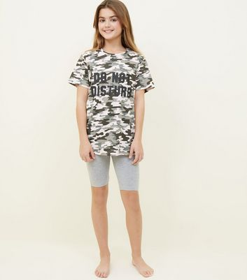 Girls Green Camo Print Lazy Days Pyjama Set