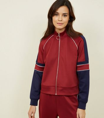 Burgundy Pipped Stripe High Shine Jacket
