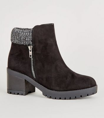 Wide Fit Black Suedette Knitted Cuff Cleated Boots
