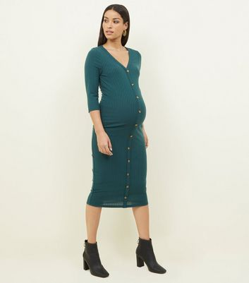 Maternity Dark Green Button Through Midi Dress