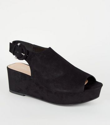 Black Suedette Peep Toe Flatforms
