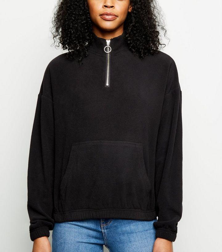 Black Zip Neck Fleece Sweatshirt  0596382bc2e