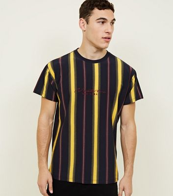 Yellow Ninety Two Embroidered Vertical Stripe T-Shirt