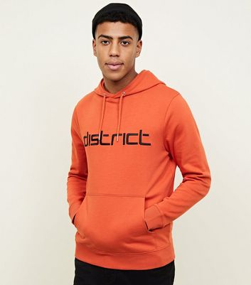 Orange Embroidered District Slogan Hoodie