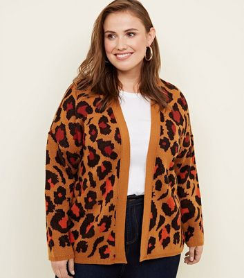 Curves Orange Colour Pop Leopard Print Cardigan