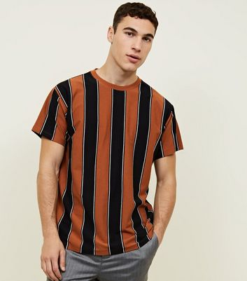 Rust Vertical Stripe Print T-Shirt