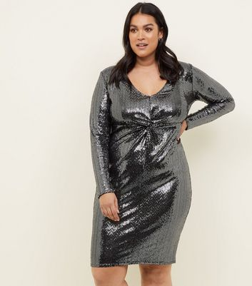 Curves Silver Mirrored Sequin Twist Front Dress