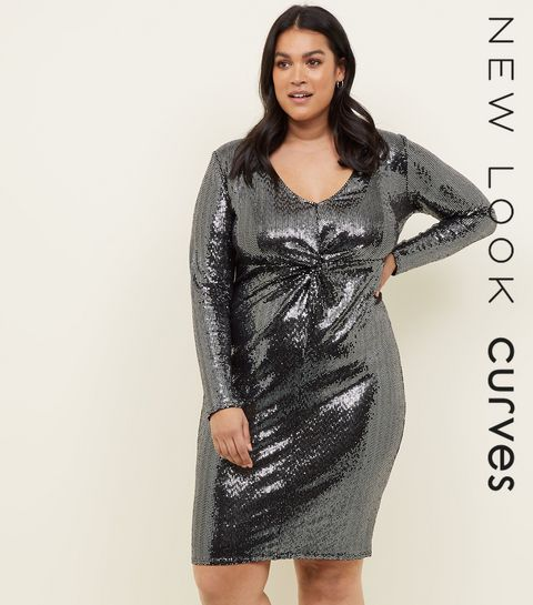 5a801419710 ... Curves Silver Mirrored Sequin Twist Front Dress ...
