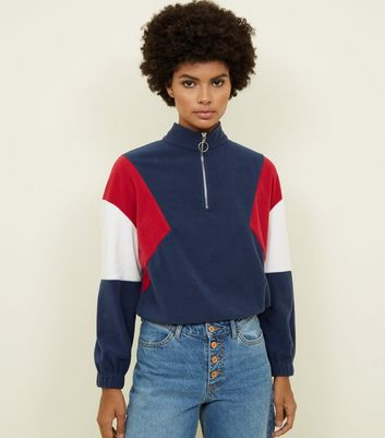 Blue Colour Block Half Zip Fleece Sweatshirt