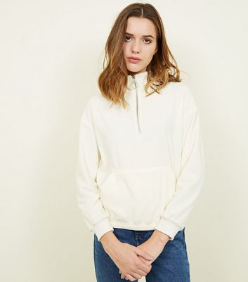 Cream Half Zip Fleece Sweatshirt