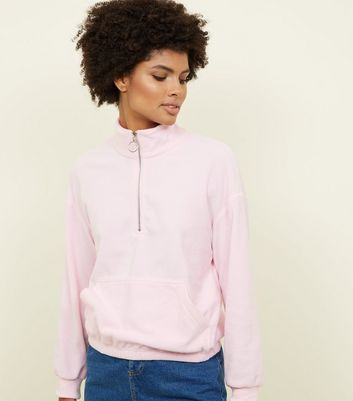 Pink Half Zip Front Fleece Sweatshirt