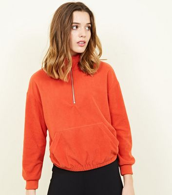 Orange Half Zip Front Fleece Sweatshirt