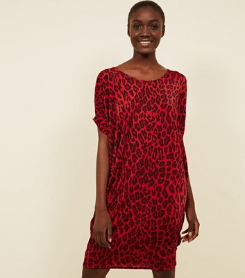 Red Leopard Print Bar Back Dress