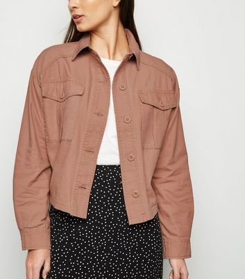 Pink Utility Pocket Cropped Shacket