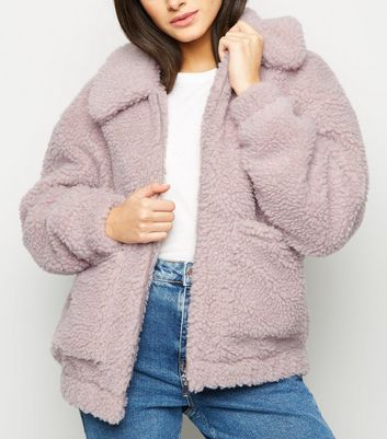 Lilac Teddy Borg Pocket Front Jacket