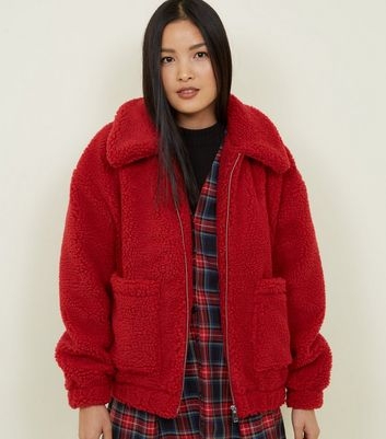 Red Teddy Borg Pocket Front Jacket