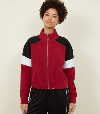Burgundy Colour Block Fleece Jacket