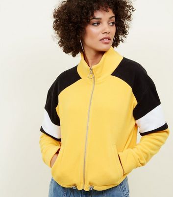 Mustard Colour Block Fleece Jacket