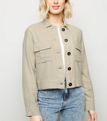 Stone Linen Look Crop Utility Jacket