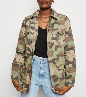 Olive Green Camo Print Utility Jacket