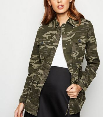 Dark Green Camo Print Utility Jacket
